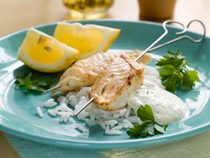 Grilled Fish Kebab with Rice Recipe